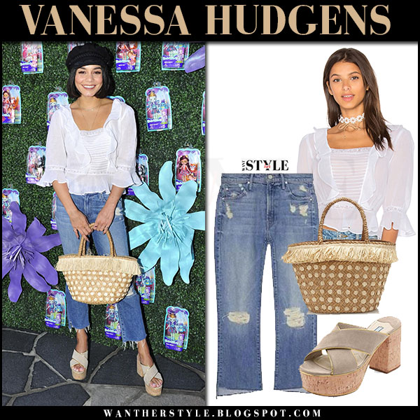 Vanessa Hudgens in white ruffled top and ripped cropped jeans mother denim celebrity style july 18 2017