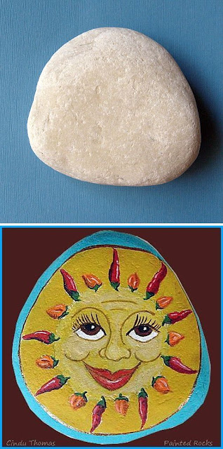 Painted Rock with Chili Pepper Sun Face by Cindy Thomas