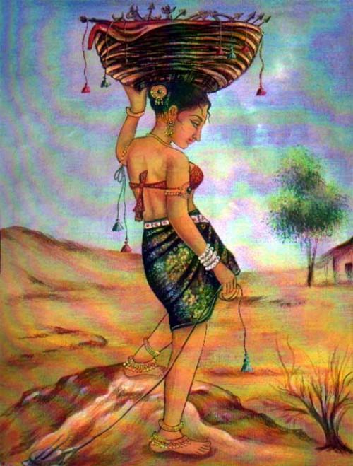 Indian Art Paintings: Rajasthani Village Girl