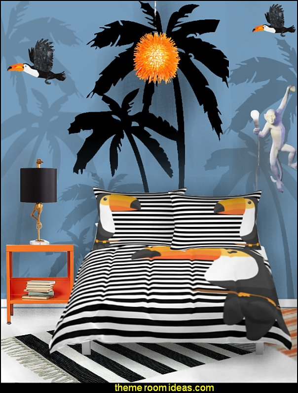 TOUCAN bedding  Tropical beach style bedroom decorating ideas - beach bedrooms - surfer theme rooms - tropical theme Hawaiian style decorating - raffia valance window ideas - tropical bedding - tropical wall murals - palm trees decor - tropical bedroom decorating ideas - tropical furniture - tropical baby nursery decorating