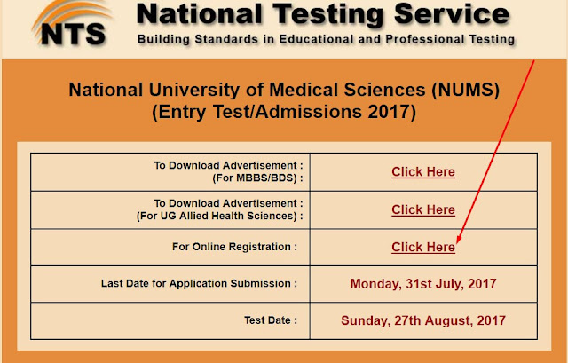 Registration Info for NUMS on NTS Site