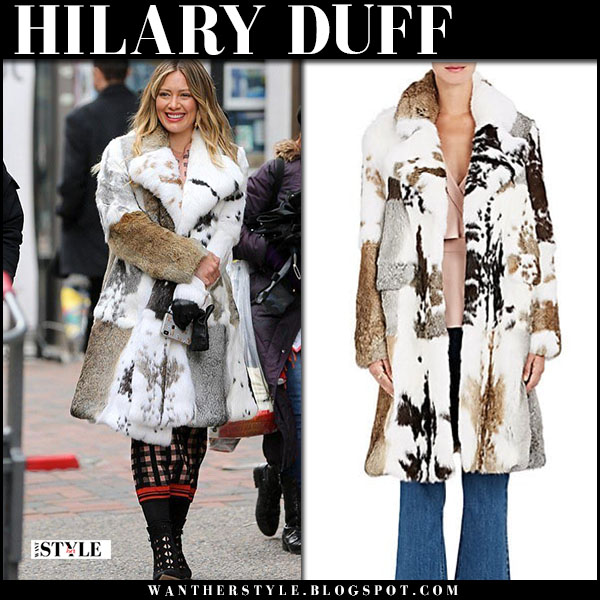 Hilary Duff in white patched fur coat younger set winter fashion march 27