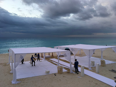 Outdoor Sikh Wedding on Beach Cancun Mexico