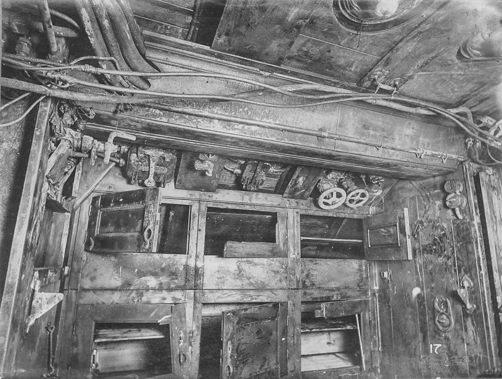 Third compartment, crew's lockers.