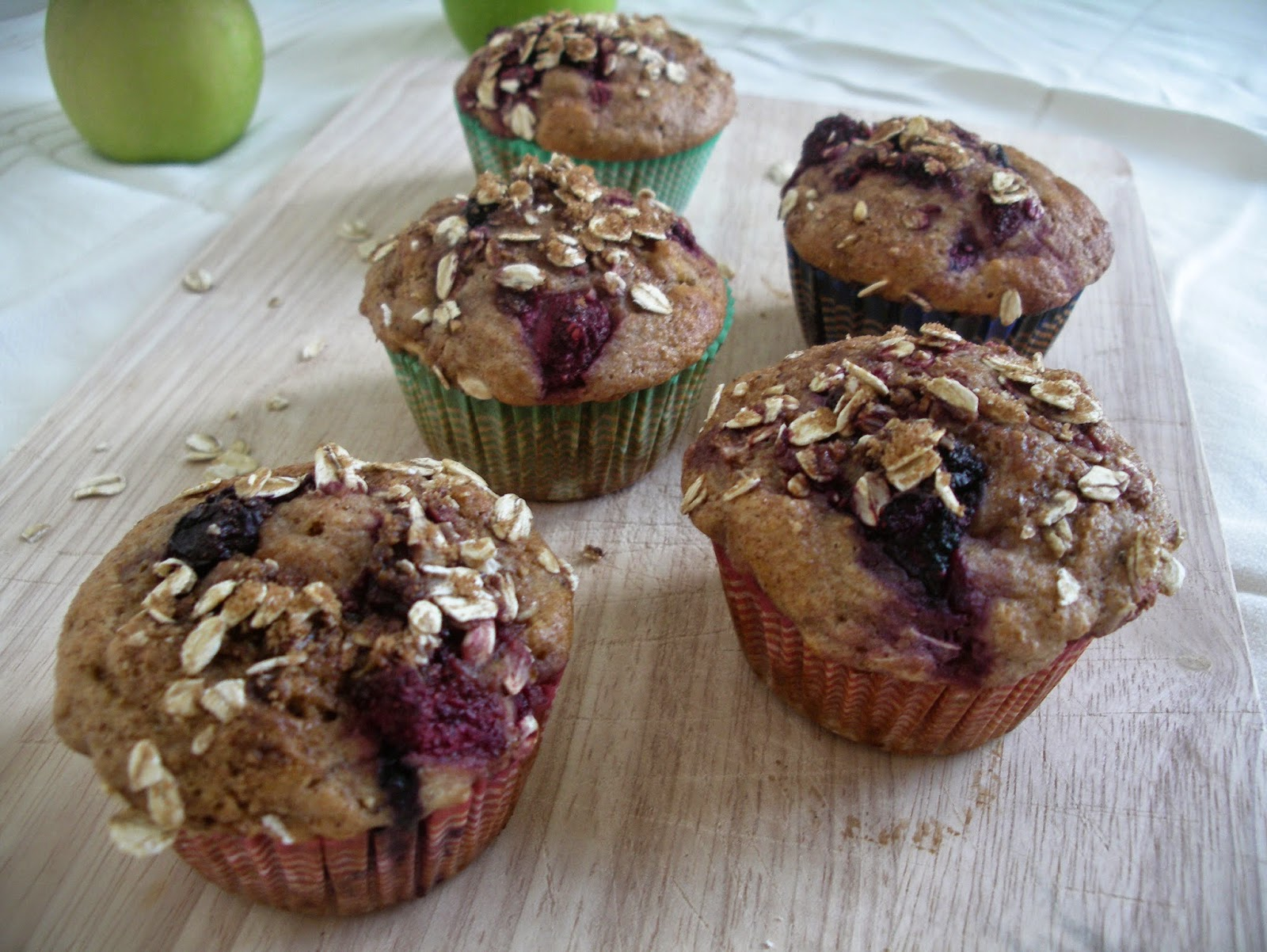 Mixed Berries and Apple Muffins