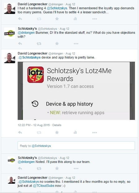 Dialog between me and Schlotzsky's