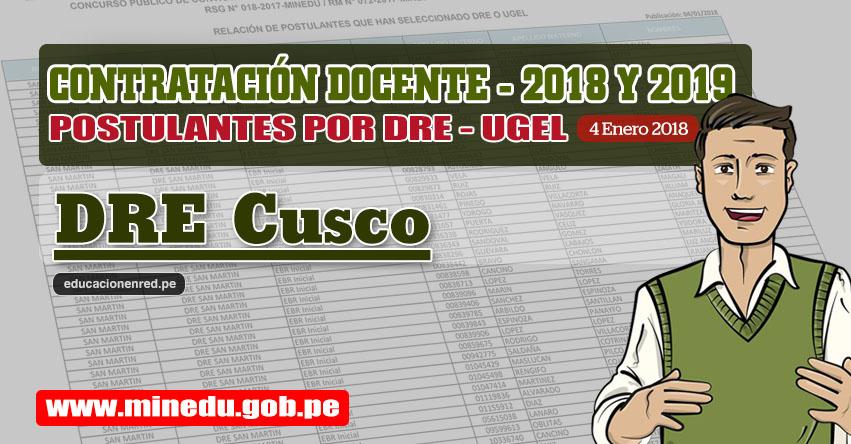 DRE Cusco: Lista de Postulantes por UGEL DRE - Contrato Docente 2018 (.PDF) www.drecusco.gob.pe