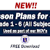 COT Lesson Plans Grades 1-6 ALL SUBJECTS