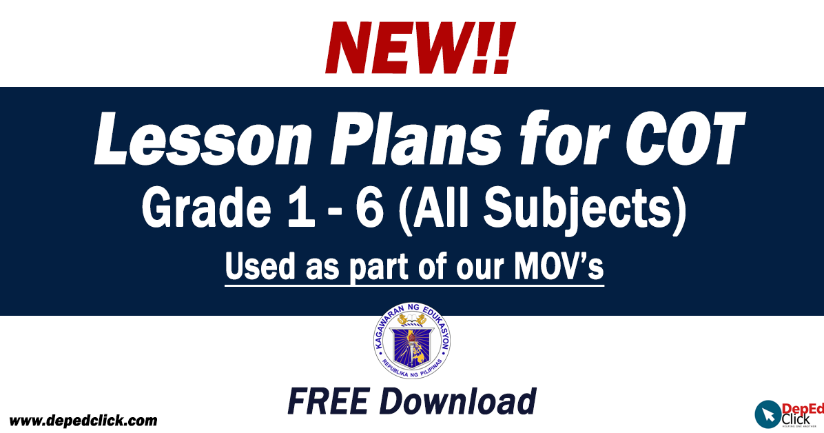 COT Lesson Plans Grades 1-6 ALL SUBJECTS - DepedClick