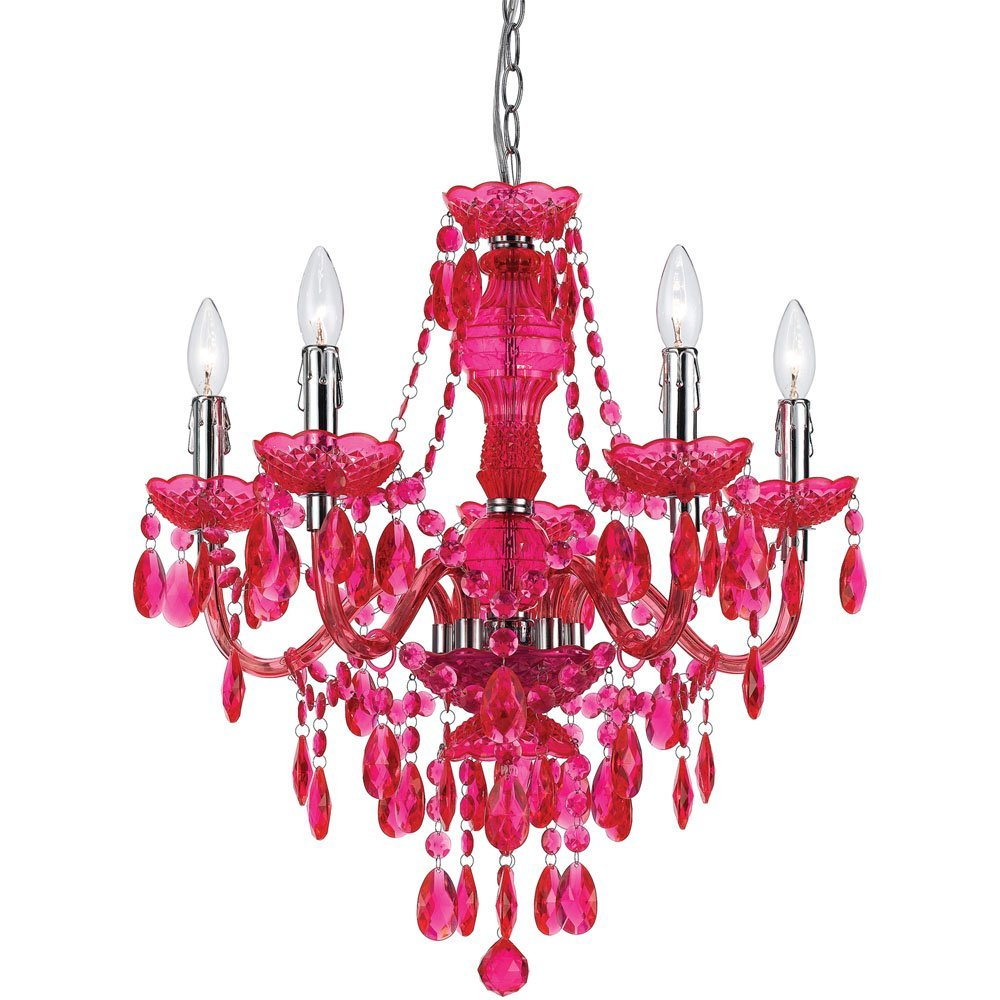 Total fab affordable chandeliers for girls to teens rooms crystal hot pink girls teens chandelier arubaitofo Choice Image