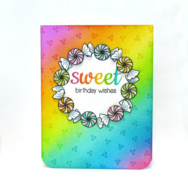 Sunny Studio Stamps: Sweet Shoppe Rainbow Candy Card by Mendi Yoshikawa