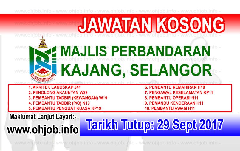 Jawatan Kerja Kosong MPKj - Majlis Perbandaran Kajang logo www.ohjob.info september 2017