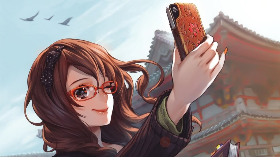 Anime, Girl, Glasses, Selfie, 4K, #4.2422