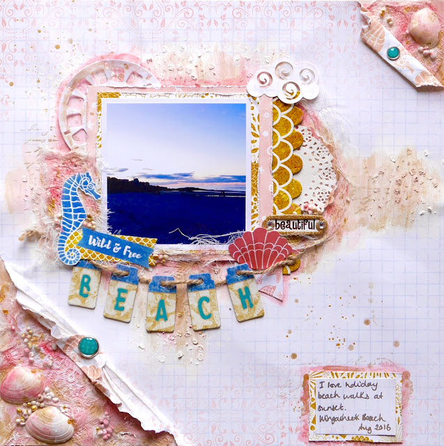 Beach Scrapbook Page by Katherine Sutton using BoBunny Down By the Sea
