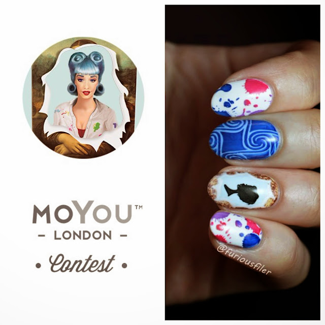 MoYou London competition splashes swirls nail art