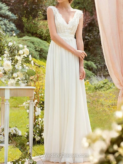 Chiffon and Lace Floor-length Sashes/Ribbons Affordable White V-neck Wedding Dresses