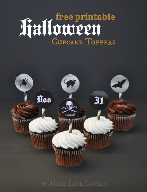Free Halloween cupcake topper printable