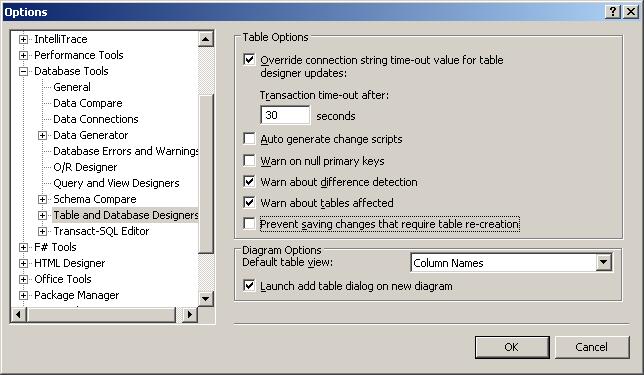Tools, Options, Database Tools
