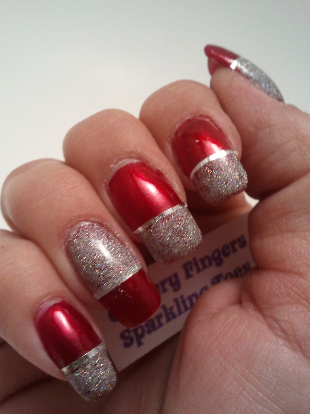 Glittery Fingers Amp Sparkling Toes Red Amp Silver French Tip