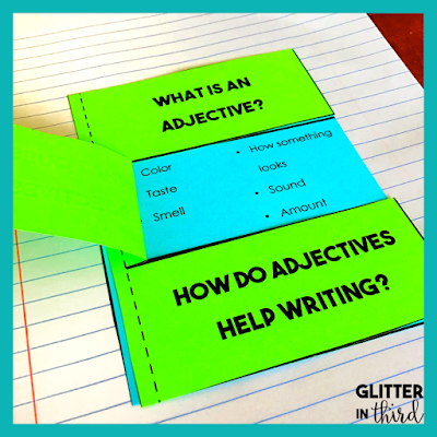 interactive notebook activity of grammar adjectives