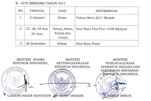 SKB Baru Perubahan Hari Libur Nasional dan Cuti Bersama 2017