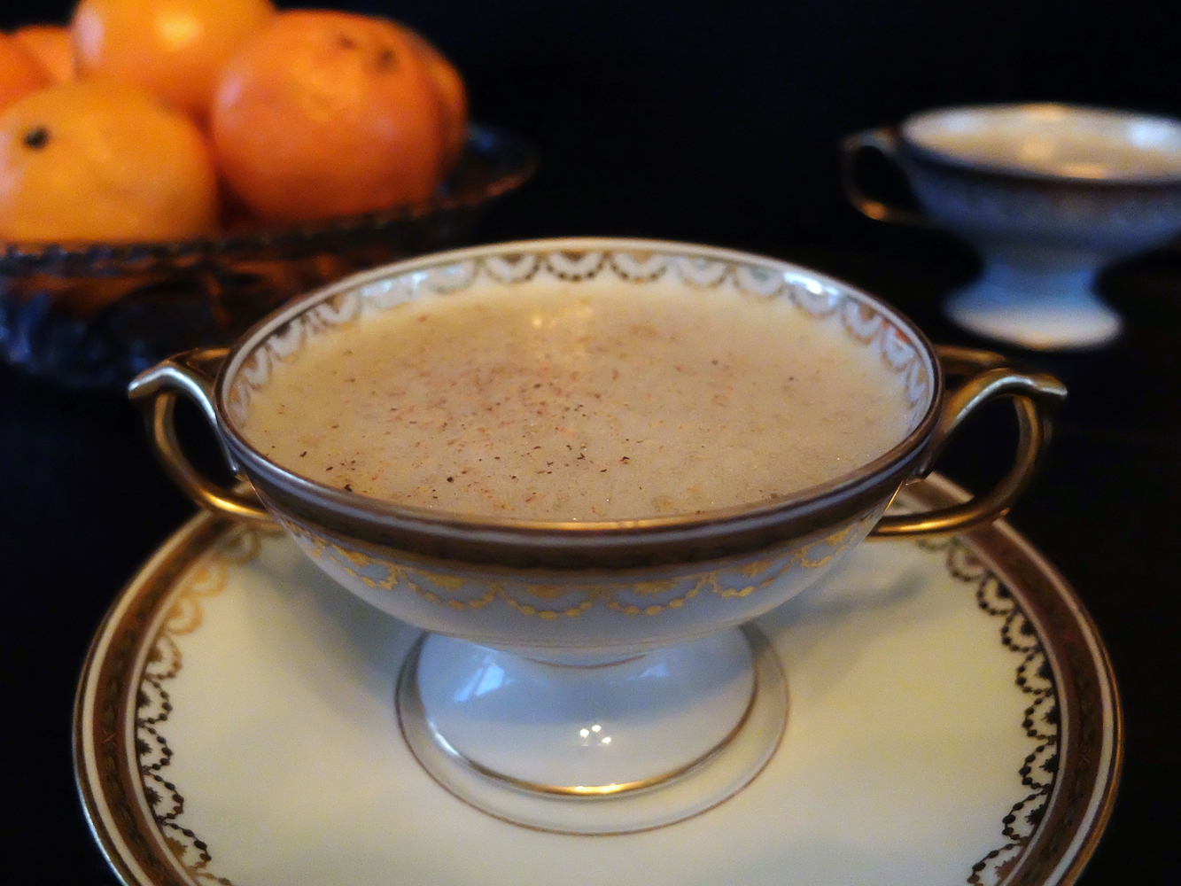 The Dead Rabbit's Mulled Egg-Wine served in 1896 Limoges bouillon cups.
