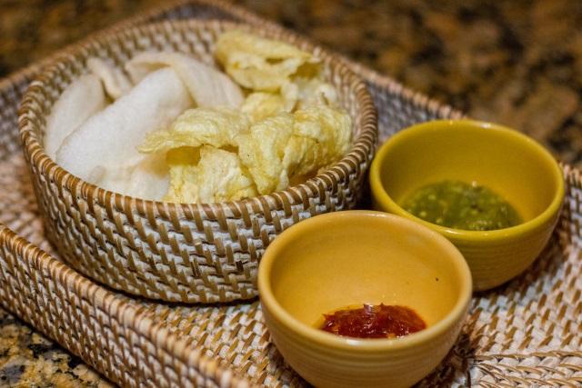 Krupuk & Emping with Sambal, Suku Restaurant, Conrad Bali