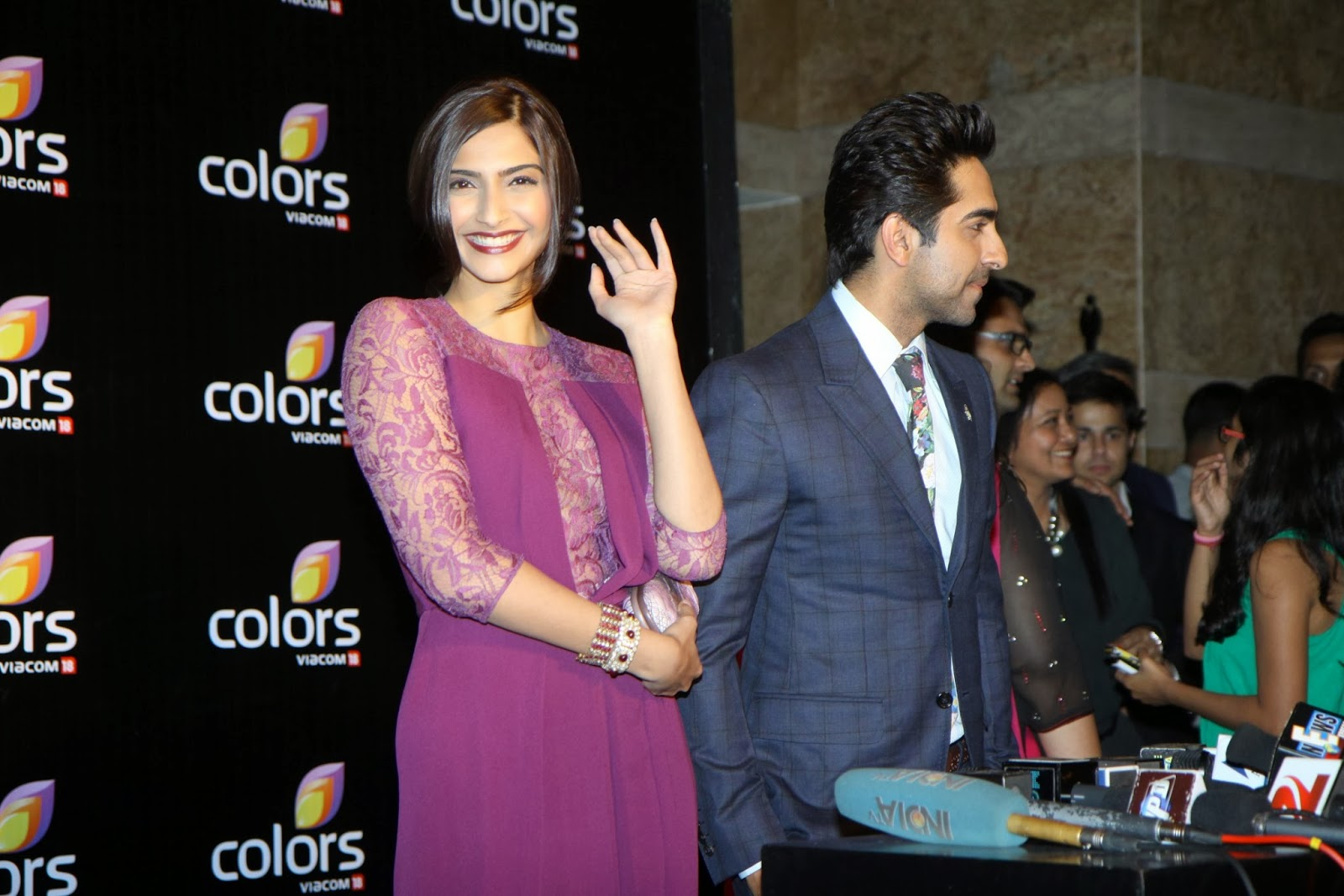 Ayushmann and Sonam Kapoor at Colors' party