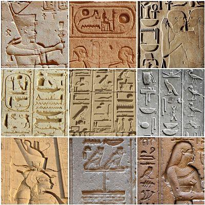 Origen y características de la escritura. Escrituras jeroglíficas en nueve imágenes distintas.