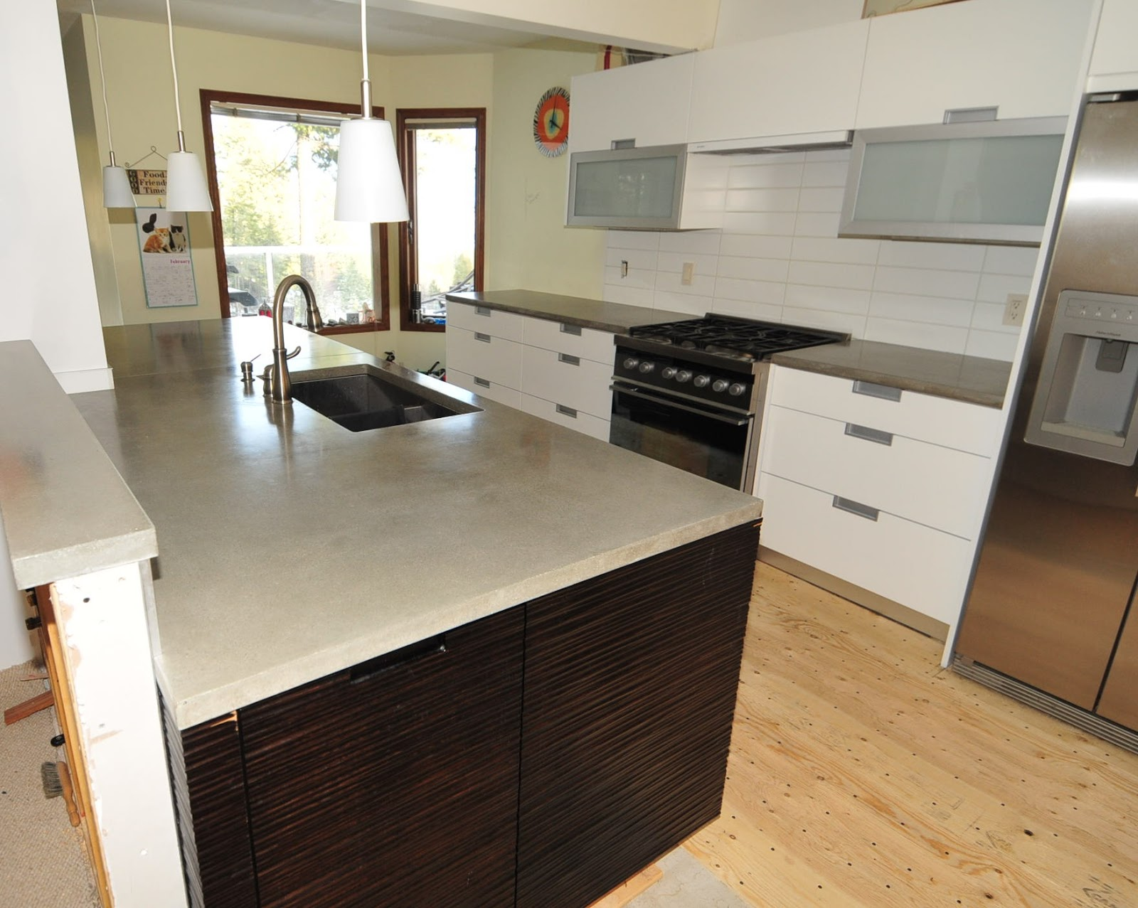 Concrete Kitchen Countertops Cupboards Lights Mode Ultra Chic And Modern