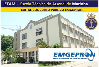 EMGEPRON abre concurso para 60 vagas na ETAM - Apostila Emgepron 2017