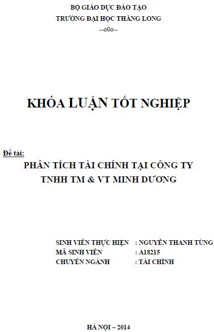 Phân tích tài chính tại công tyTNHH Thương mại và Vận tải Minh Dương