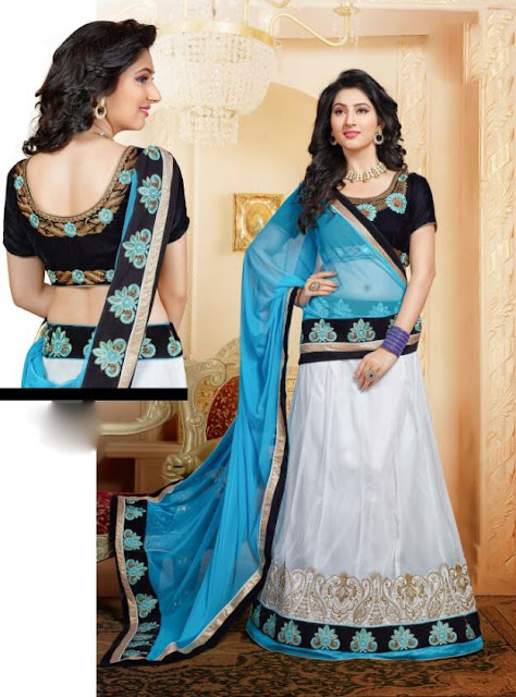 #White & Sky Blue Net #Lehenga With Dupatta For #Navratri Moksha Fashions