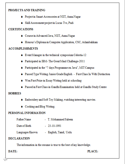 6 Computer Science Resume Examples Download Now Be Cse Resume Format For Freshers