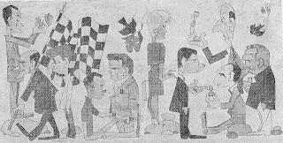 Caricaturas de los protagonistas del V Torneo de Ajedrez de Berga 1961