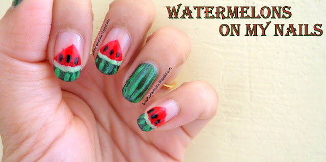 Juicy Watermelons on my Nails - Tutorial With Steps..