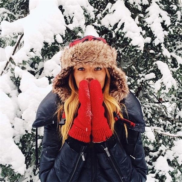image result for beautiful woman winter hat in snow red mittens