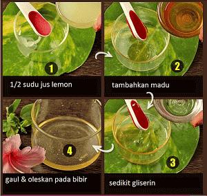 Jus lemon dan madu sebagai pelembap bibir