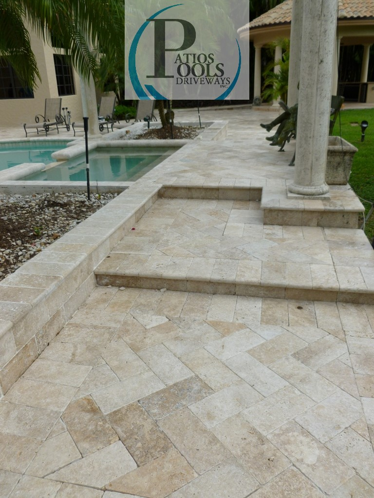 travertine marble pavers for residential pool deck remodeling job