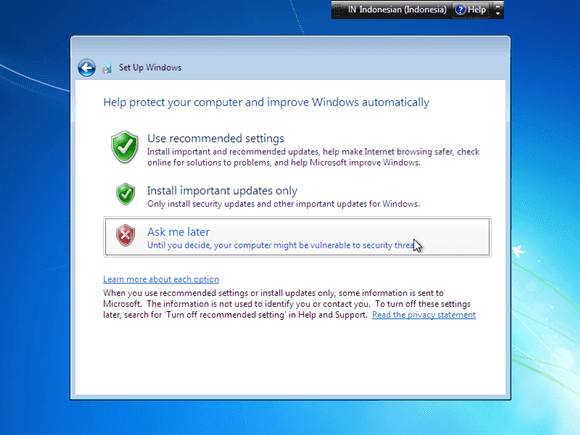 Cara instal windows 7 - pilih use recommended setting