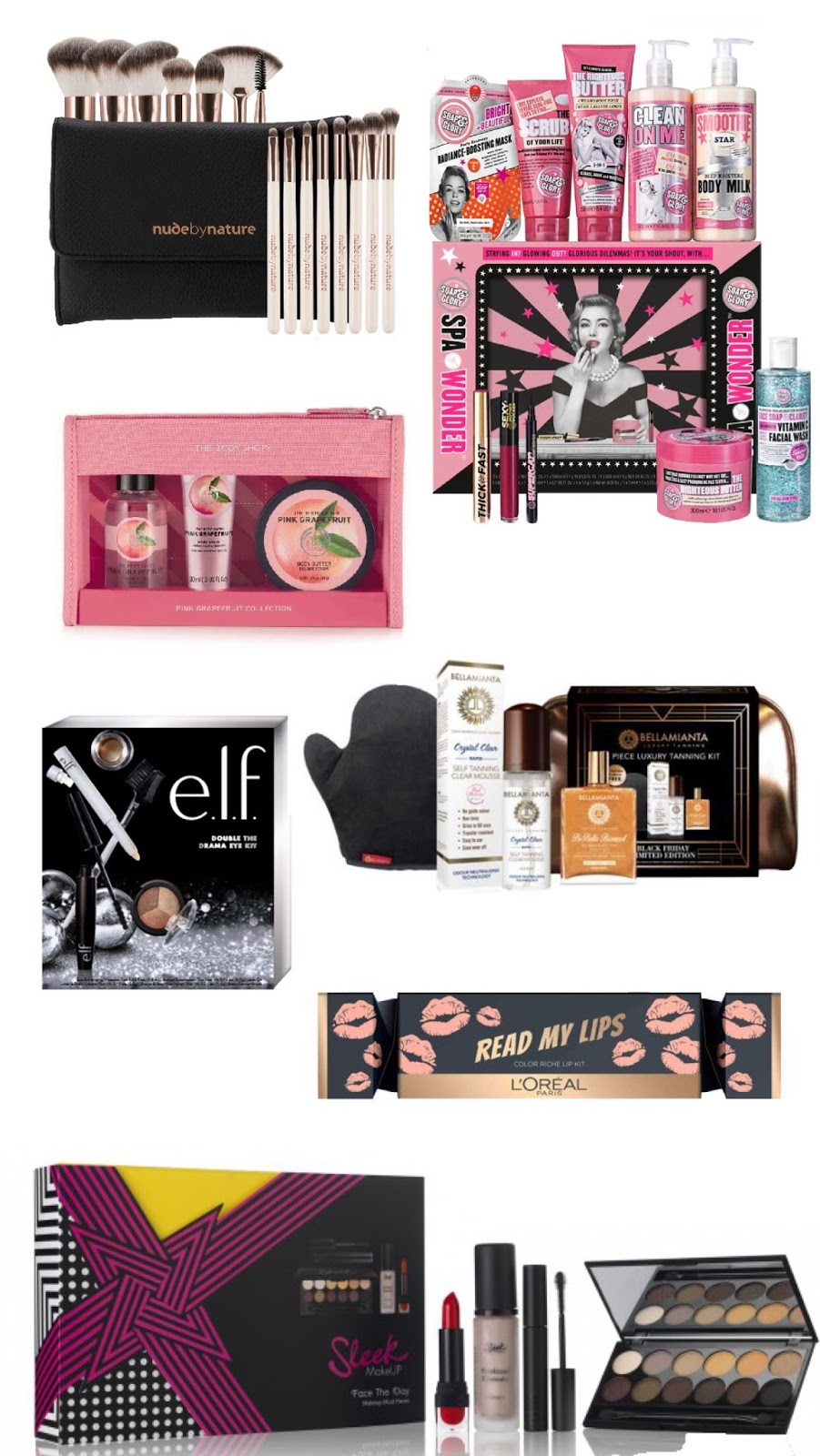 nude by nature christmas makeup brush set here soap glory spa wonder body and beauty set limited edition here body shop pink grapefruit christmas set