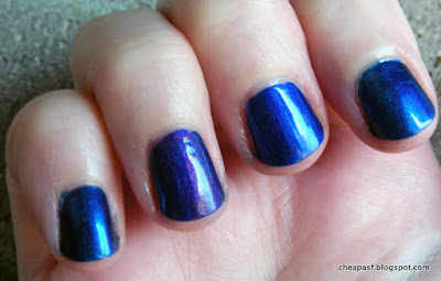 Color Club It's Raining Men, Sally Hansen Co-Bolt Blue, Max Factor Fantasy Fire