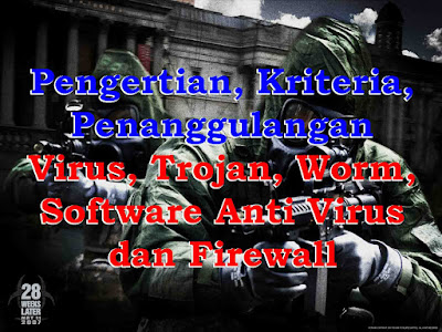 Pengertian, Kriteria, Penanggulangan Virus, Trojan, Worm, Software Anti Virus dan Firewall