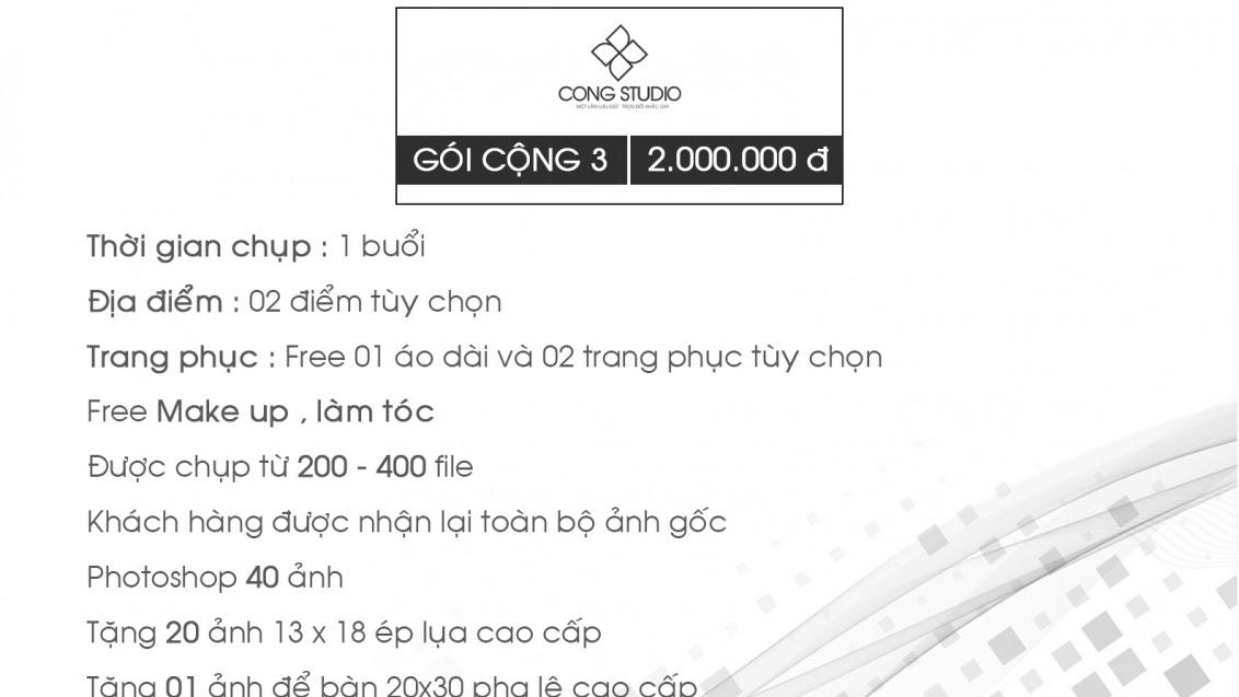 Bảng giá dịch vụ 3