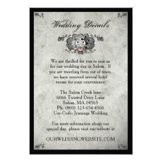 skeleton LOVE Matching Gray & Black Wedding Details Card - 3.5 x 5 Inches