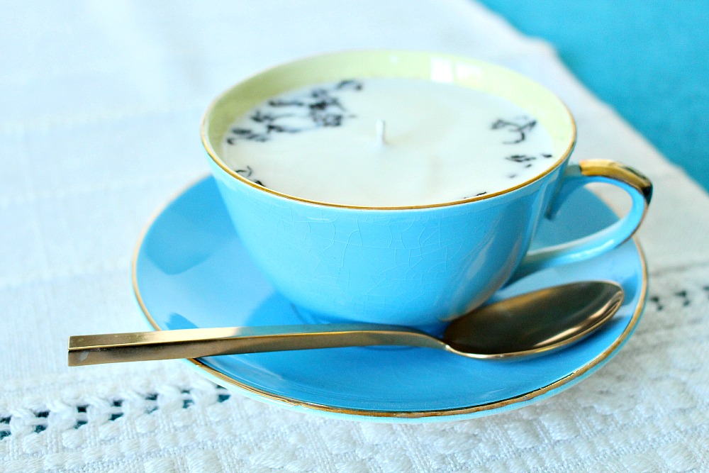 DIY poured soy tea cup candle