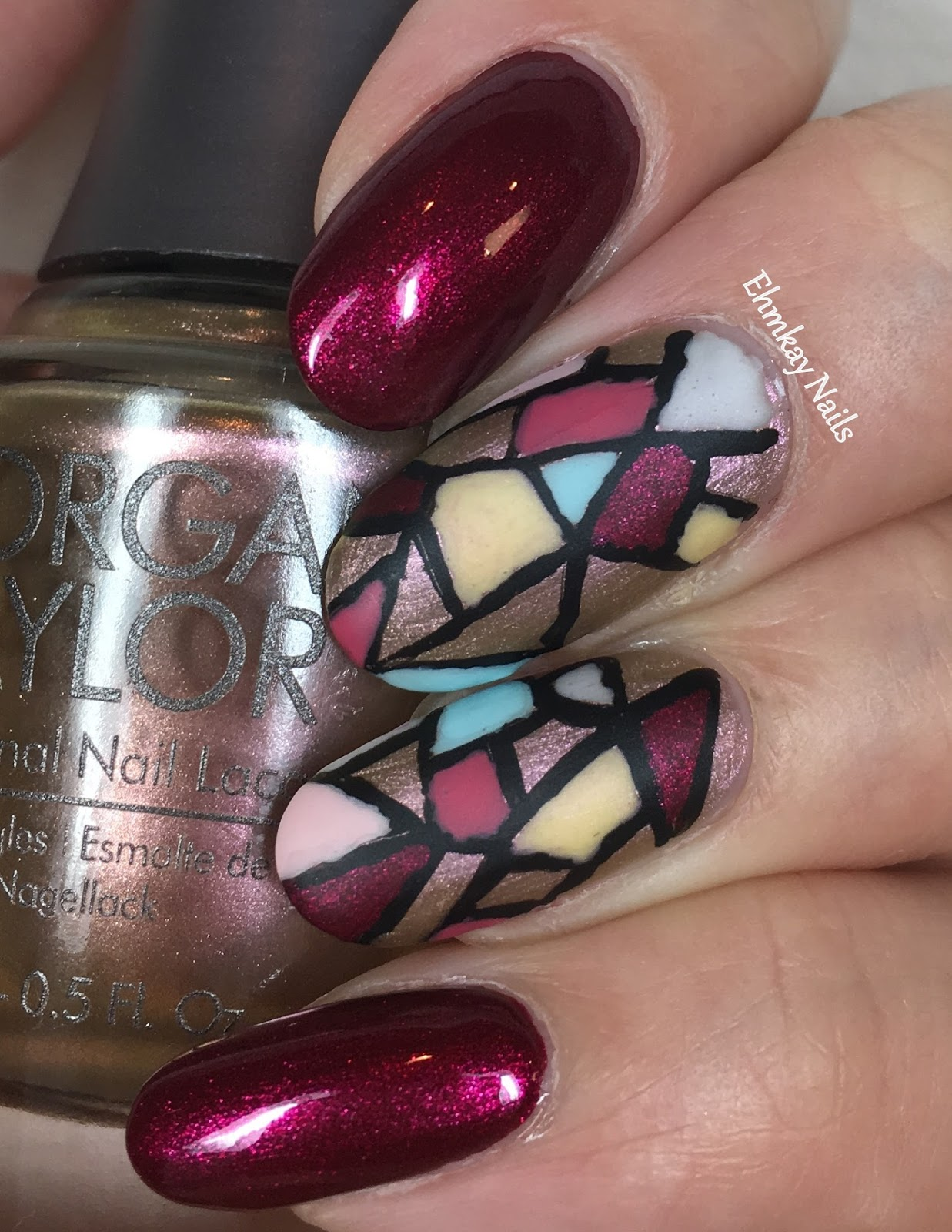 Ehmkay Nails Morgan Taylor Beauty And The Beast Stained Glass Nail Art