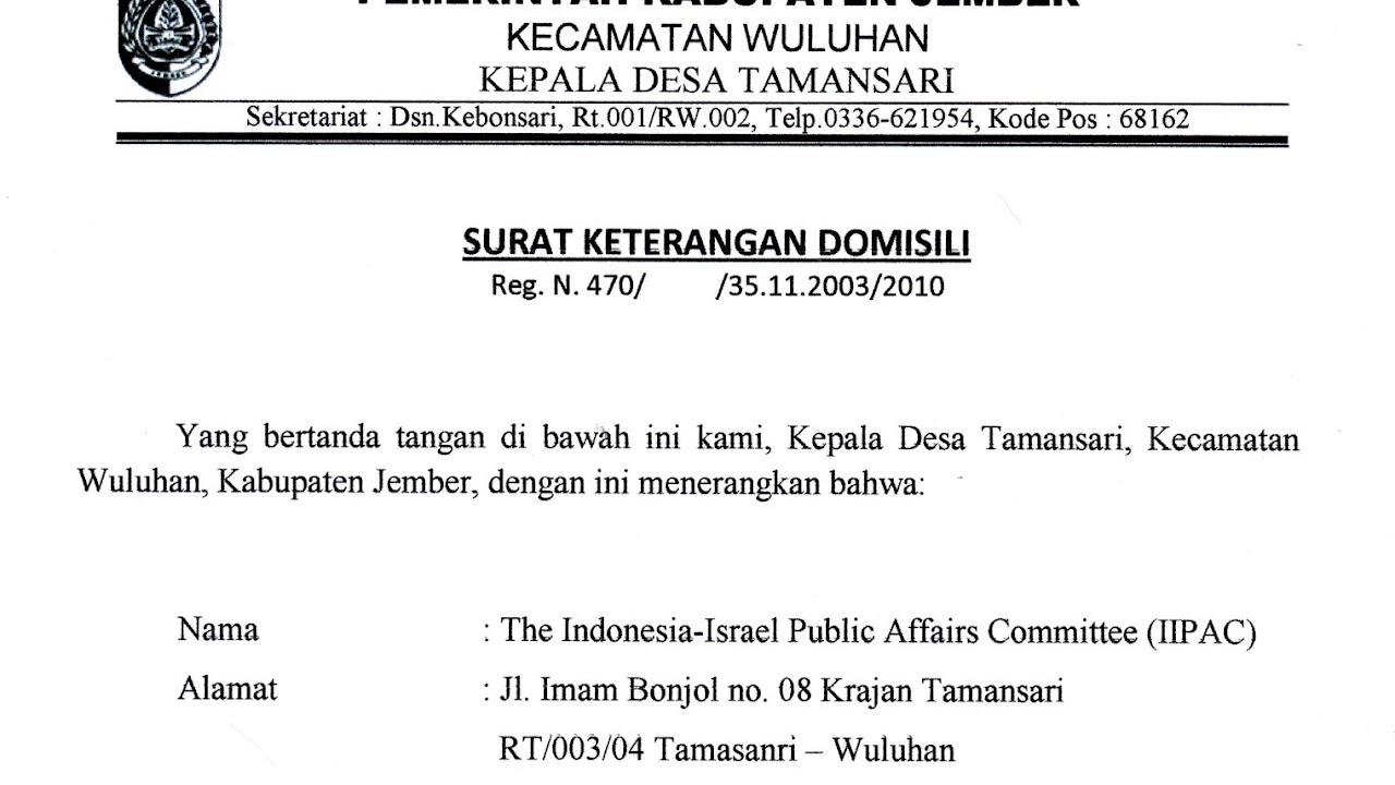 Contoh Surat Keterangan Penduduk Dari Desa