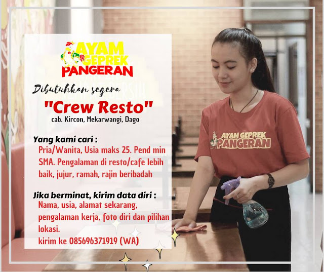 Lowongan Kerja Crew Resto Ayam Bakar Pangeran
