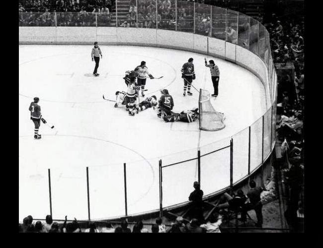 Vs. Pittsburgh: With Caps strewn all over the ice like bowling pins, the referee says NO, you may NOT try and pick up the spare (3/19/76)